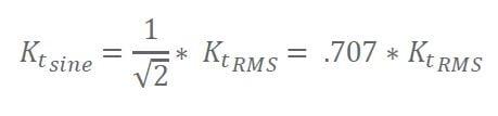 Motor Constant - RMS to Peak of Sine