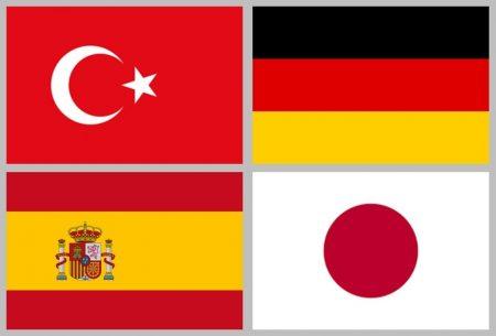 Turkish, German, Spanish, Japanese